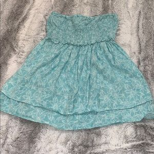 Teal Strapless Bandeau Babydoll Top Stretch